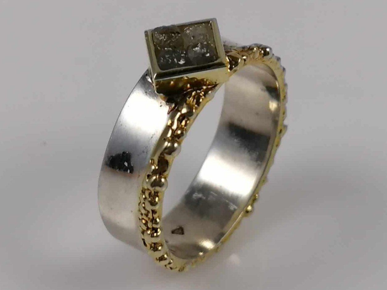 Ring 925 Silber Rohdiamanten