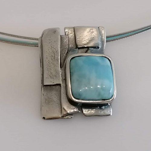 Collier 925 Silber mit Larimar und Edelstahlreifen