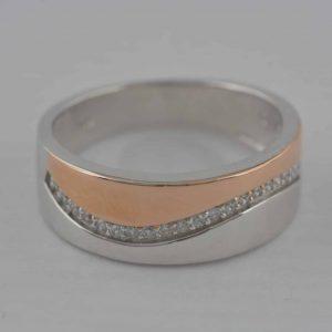 Ring 925 Silber rot vergoldet, Zirkonia