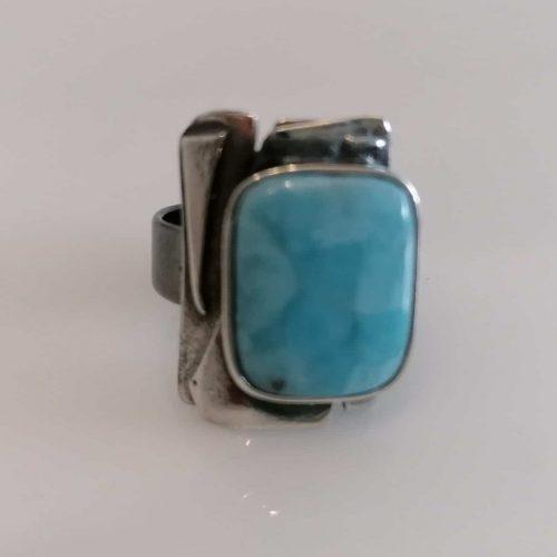 Ring 925 Silber pat., Larimar